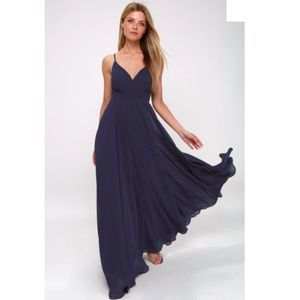 Lulu's All About Love Maxi Dress XS Navy Blue